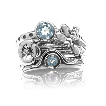 Set of 4 Genuine Blue Topaz 925 Sterling Silver Dragonfly & Flower Stack/Stackable Rings