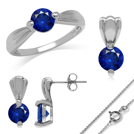 Synthetic Sapphire Blue White Gold Plated 925 Sterling Silver Ring, Earrings & Pendant/Necklace Set