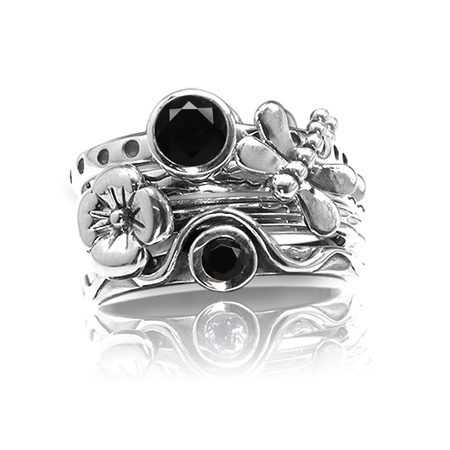 Set of 4 Natural Black Onyx 925 Sterling Silver Dragonfly & Flower Stack/Stackable Rings