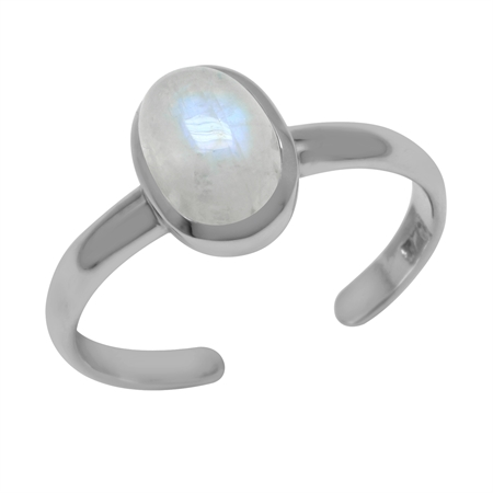 Natural Rainbow Moonstone Oval 7x5 mm 925 Sterling Silver Toe Ring