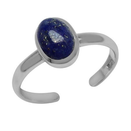 Natural Lapis Lazuli Natural Black Onyx Oval 7x5 mm 925 Sterling Silver Toe Ring