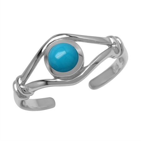 Genuine American Turquoise 925 Sterling Silver Toe Ring