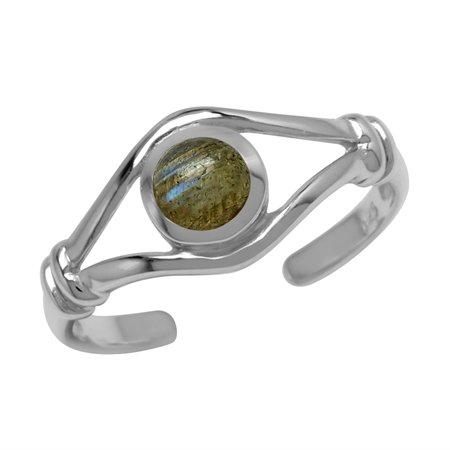 Natural Labradorite 925 Sterling Silver Toe Ring