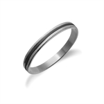 8MM Fashion Women Two-Tone Stainless Steel Black Sandblasted Bangle