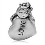 925 Sterling Silver Lady/Girl in Love European Charm Bead (Fits Pandora Chamilia)