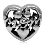 925 Sterling Silver MOM in a Filigree Heart European Charm Bead (Fits Pandora Chamilia)