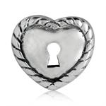 925 Sterling Silver HEART LOCK Eur...