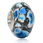 Blue & Brown Murano 925 Sterling Silver European Charm Bead (Fits Pandora Chamilia)