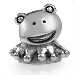 925 Sterling Silver Frog Toad European Charm Bead (Fits Pandora Chamilia)
