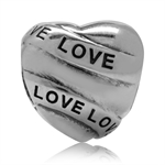 925 Sterling Silver LOVE Heart Eur...