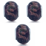 SET of 3 Murano Glass Stainless St...