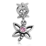 Light Pink Swarovski Crystal 925 Sterling Silver DRAGONFLY Dangle European Charm Bead