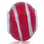 Red & White Murano Glass 925 Sterl...
