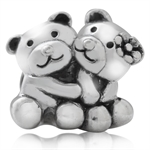925 Sterling Silver Twin Teddy Bear European Charm Bead (Fits Pandora Chamilia)