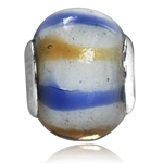 White, Brown & Blue Murano Glass 9...