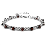 6.48ct. Natural Garnet White Gold Plated 925 Sterling Silver Flower 7-8.5