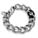 Men's Black Stainless Steel Figaro Bracelet