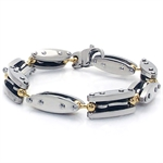 Men&#39s 3-Tone Gold & Black Stainless Steel Bracelet