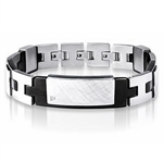 Natural Diamond Scratch Textured 2-Tone PVD Stainless Steel Men Bracelet