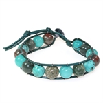 Natural Turquoise & Jasper Ball Bead Leather 7&#34-9&#34 Bracelet