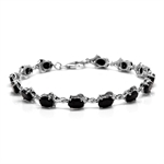 15.54ct. Natural Black Sapphire White Gold Plated 925 Sterling Silver Bracelet