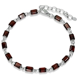 9.75ct. Natural Garnet 925 Sterling Silver 7-8.5 Inch Adjustable Bracelet
