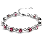Simulated Ruby White Gold Plated 9...