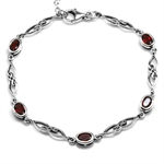 2.9ct. Natural Garnet 925 Sterling Silver Celtic Knot 7.25-8.75