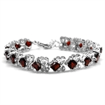 13.05ct. Natural Garnet White Gold Plated 925 Sterling Silver Swirl 6.5-8