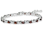 Natural Garnet & White Topaz 925 Sterling Silver 7-8.5