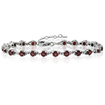 7.35ct. Natural Garnet 925 Sterling Silver Victorian Style 7-8.5&#34 Adjustable Bracelet
