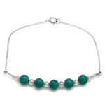 5-Stone 6MM Created Green Turquois...