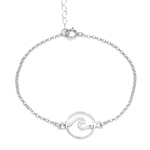 Petite Summertime Surf Girl 925 Sterling Silver New Wave Point Break Beach Bracelet