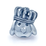 925 Sterling Silver DOG with CROWN Threaded European Charm Bead