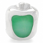 Green Mother Of Pearl 925 Sterling Silver Apple Threaded European Charm Bead