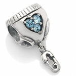 AUTH Nagara Baby Diapers&Pin Blue Crystal Silver w/Thread Charms Bead fits Pandora Chamilia
