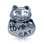 925 Sterling Silver LOVE CAT Threa...