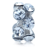 White Crystal 925 Sterling Silver Modern Threaded European Charm Bead
