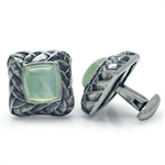 CLEARANCE 9mm Genuine Phrenite Sterling Silver Designer Cufflink