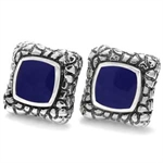 CLEARANCE Blue Lapis Inlay Sterling Silver Designer Cufflink