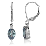 Simulated Color Change Alexandrite White Gold Plated 925 Sterling Silver Dangle Leverback Earrings