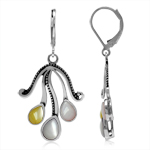 Multicolor Mother Of Pearl 925 Sterling Silver Tentacle/Octopus Leverback Dangle Earrings