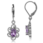 1.5ct. Natural Amethyst Gold Plated 925 Sterling Silver Victorian Style Flower Leverback Earrings