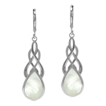 Celtic Style Weave Knot 925 Sterling Silver Drop Earrings with Natural White Mother Of Pearl