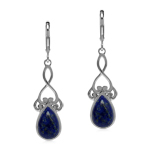 Natural 12x8 mm Blue Lapis Lazuli 925 Sterling Silver Victorian Swirl Inspired Leverback Earrings