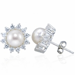 Cultured White Pearl & CZ 925 Ster...