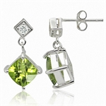 3.06ct. Natural Peridot & White Topaz 925 Sterling Silver Dangle Earrings