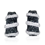 Glamorous Black&White CZ Gold Plated on 925 Sterling Silver C-Hoop Earrings