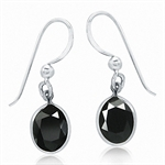 6.7ct. Natural Black Sapphire 925 Sterling Silver Dangle Earrings