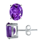 3.08ct. Natural February Birthstone African Amethyst 925 Sterling Silver Stud Earrings